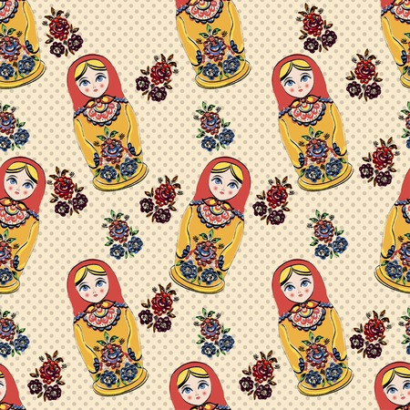 Vector Seamless classic folklore pattern of Russian Dolls and flowers. Vector Illustration