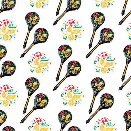 wooden spoon: Russian wooden spoon seamless pattern. National cutlery with floral ornament-khokhloma. Vector