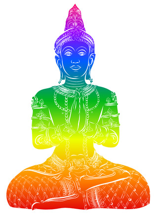 Silhouette of Buddha sitting on a white background. Vector Çizim