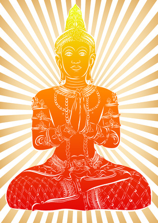 Silhouette of Buddha sitting on a striped background. Vector Illustration