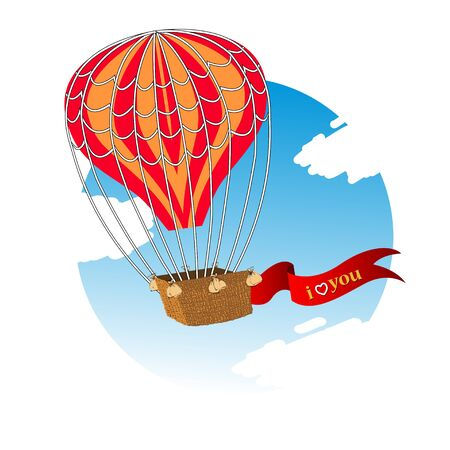 dialog baloon: Wedding invitation card with flying hot air balloon in the sky with text. Vector