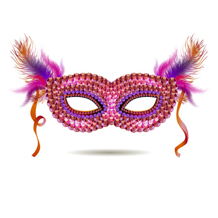 venetian carnival: Vector pink venetian carnival mask with feathers. EPS 10