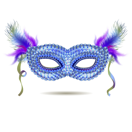 Vector blue venetian carnival mask with feathers. EPS 10