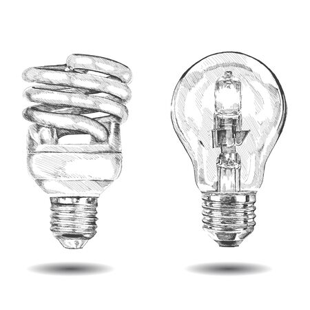 electric bulb: vector hand made lamp. Graphic sketch. Vector illustration. EPS