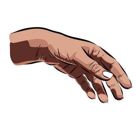 fingernail: hand on a white background. Vector illustration Illustration