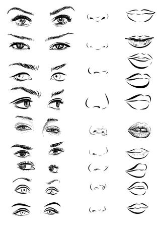 Ensemble de yeux de femme, les lèvres, les sourcils et le nez comme en noir et blanc design esquisse éléments. vecteur EPS