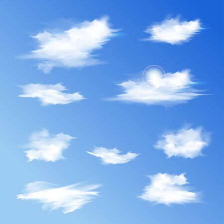 Set of white different clouds. Vector illustration