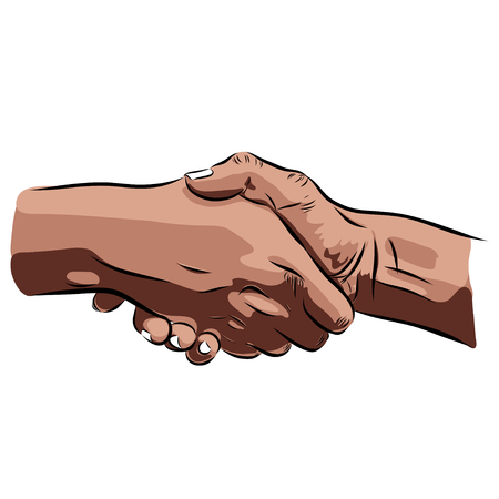 lean on hands: handshake hands on a white background. illustration