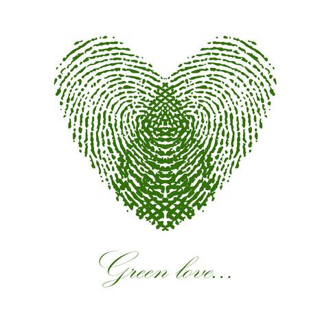 緑の白い背景の上の心の指紋。