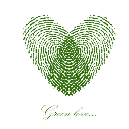 Green fingerprint with heart on a white background.