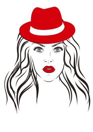 red hat: Beautiful fashion woman portrait on background. illustration