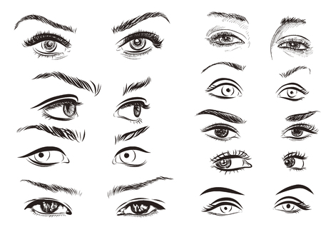 women face stare: hand drawn woman eyes collection on a white background.