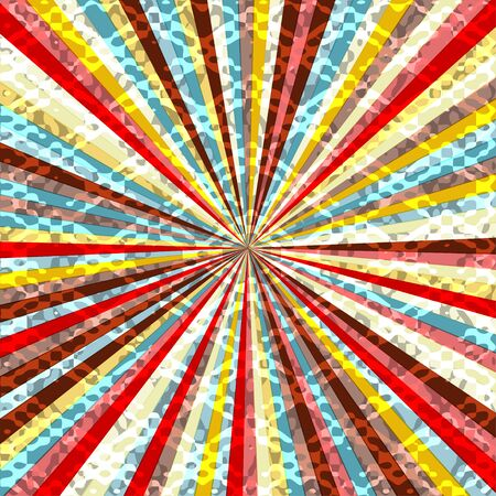 seventies: Old round retro vintage label on a sunrays background.