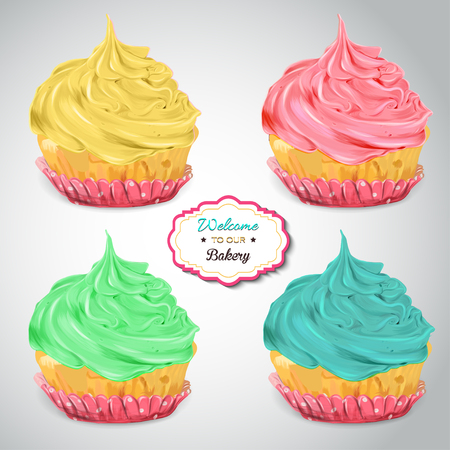 Set of delicious cupcakes with different toppings. Isolated on a grey background. Stock Photo