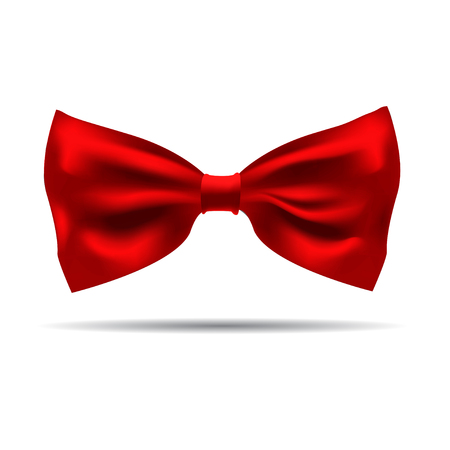 informal: Illustration of red silk bow tie on a white background. Stock Photo