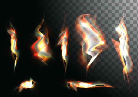 special effects: Set of realistic fire flames on transparent background. Special effects. illustration. Translucent elements. Transparency grid. campfire set.