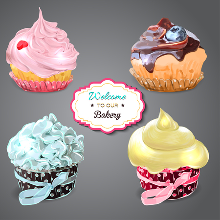 cupcakes isolated: Set of delicious cupcakes with different toppings. Isolated on grey background.