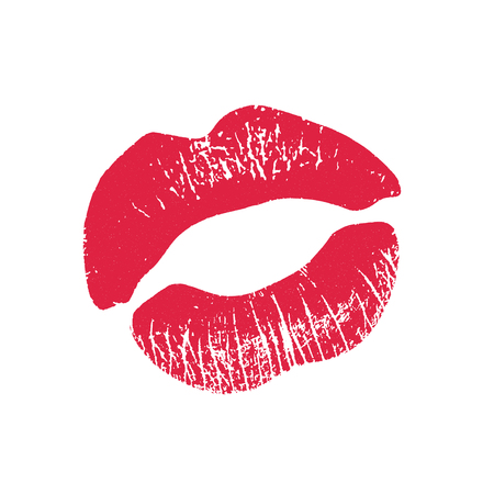 pucker: Print of pink lips. illustration on a white background.
