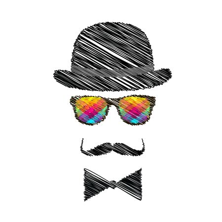 snobby: Vintage silhouette of top hat, mustaches and bow tie - illustration.