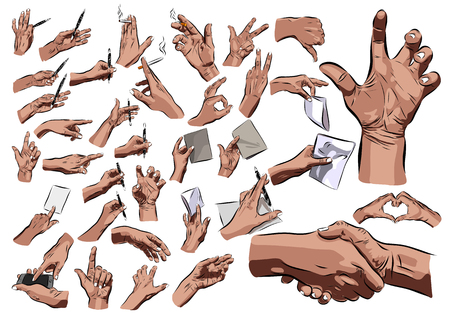 snapping fingers: Big hands set on a white background. illustration Stock Photo