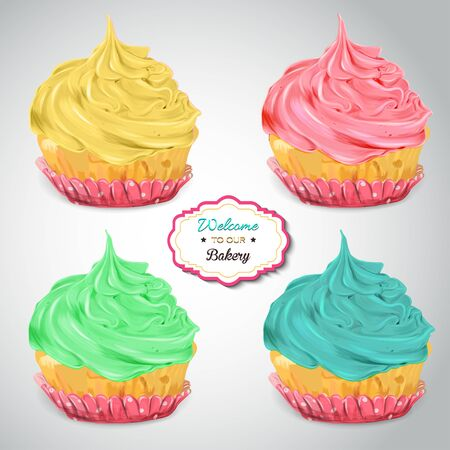 cupcakes isolated: Set of delicious cupcakes with different toppings. Isolated on a grey background. Stock Photo