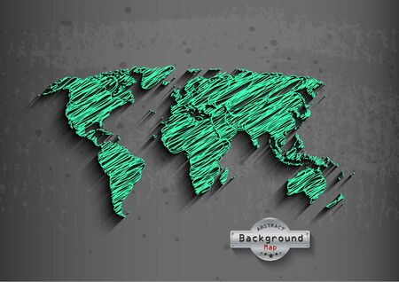 green world: hand drawn green world map on a grey background. Stock Photo