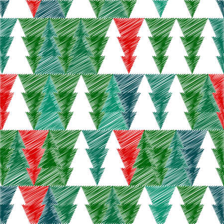 scetch: Christmas tree with scetch lines. Christmas card.