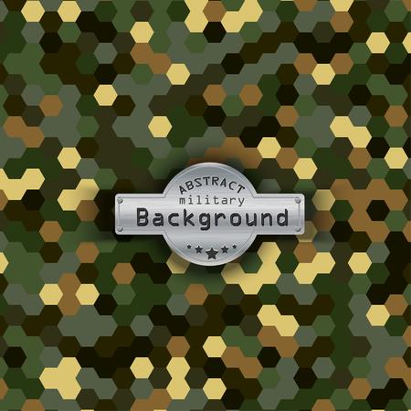 배경에 군사 육각형 패턴을 위장. 삽화,