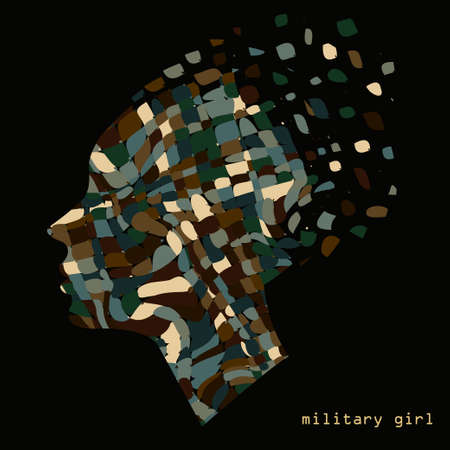 camouflage woman: Camouflage military abstract woman portrait with pattern on a background. illustration.