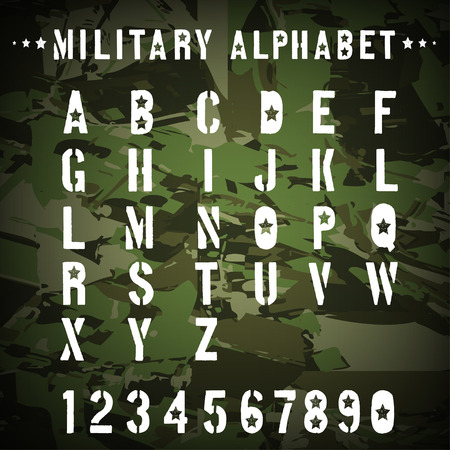stencil: Military stencil alphabet on a camouflage background, illustration.