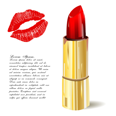 pomade: Lipstick isolated with lips trace on a white background. illustration. Pomade icon.