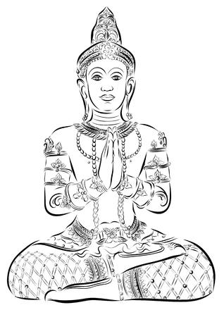 serene: Sitting Buddha. illustration. Black outlines isolated on white. Beautifully detailed, serene. Vintage decorative elements. Stock Photo