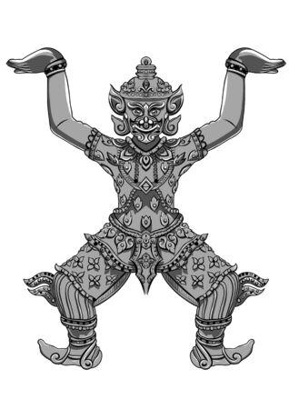 statua Rakshasa Thai. contorni neri isolato su sfondo bianco con il testo. Indiana, araba, islamica, africana, indù, Thai, motivi ottomani. Etnica, l'arte del tatuaggio, disegno boho spirituale. Archivio Fotografico