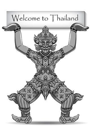 Statua tailandese di Rakshasa. Profili neri isolati su sfondo bianco con testo. Indiani, arabi, islamici, africani, indù, thailandesi, motivi ottomani. Etnico, arte del tatuaggio, design spirituale boho.