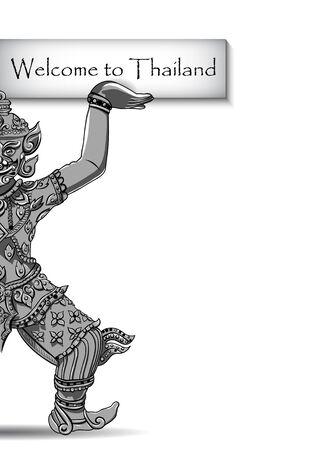 thai motifs: Rakshasa Thai statue. Black outlines isolated on white background with text. Indian, Arabic, Islamic, African, Hindu, Thai, ottoman motifs. Ethnic, tattoo art, spiritual boho design.