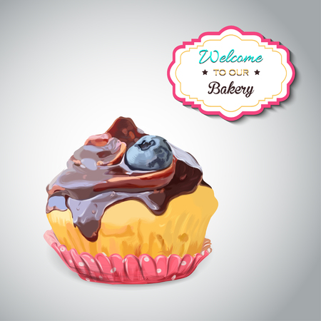 blueberry muffin: Set of delicious cupcake with different toppings. Isolated on the grey background. Stock Photo
