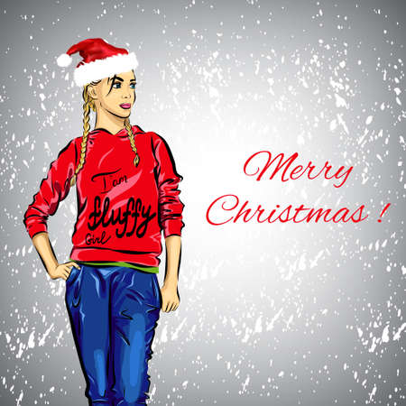 santa girl: Beautiful Santa girl for your design. The illustration.