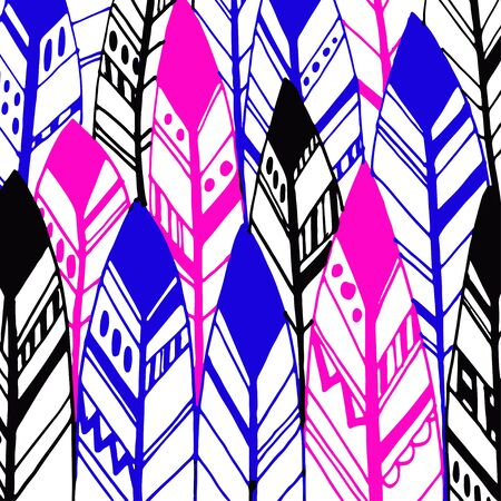 indian ink: Feather background, retro pattern, ethnic doodle collection, tribal design. Ink hand drawn illustration with different indian feathers on white background. Stock Photo