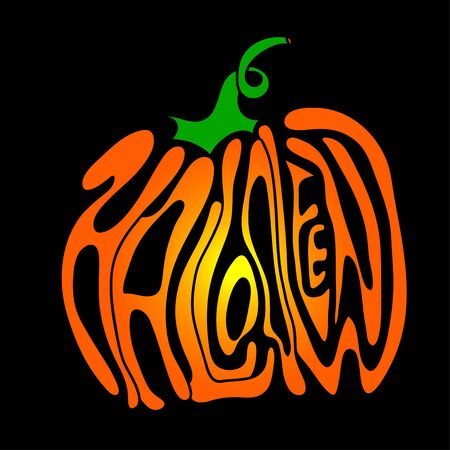 Pumpkin lettering for Halloween on a background.