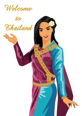 thai women: Thai Women on a white background. illustration