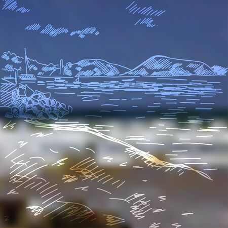 oceanside: Summer beach with the mountains, clouds and sand hand drawn .