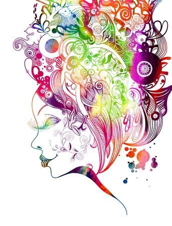 Beautiful fashion women with abstract and the floral elements. illustration.
