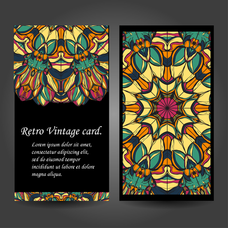 creation of sites: Set retro business card. Vector background. Card or invitation. Vintage decorative elements. Hand drawn background. Islam, Arabic, Indian, ottoman motifs.