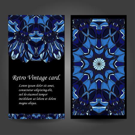 creation of sites: Set retro business card. Vector background. Card or invitation. Vintage decorative elements. Hand drawn background. Islam, Arabic, Indian, ottoman motifs. illustration Illustration