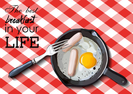 albumen: Fried eggs and sausage on pan, food ingredients, vector illustration EPS
