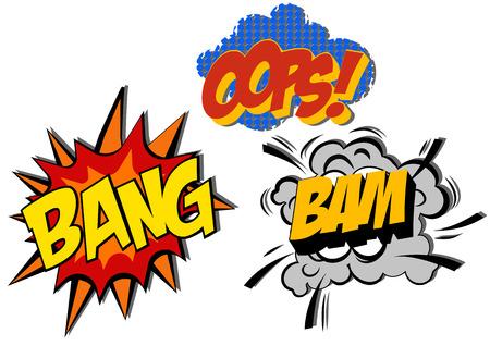 blasting: retro cartoon explosion pop art comic set. Vector EPS Illustration