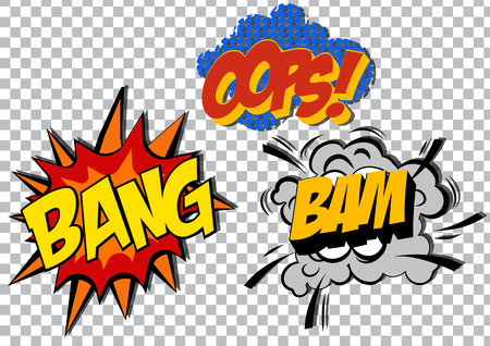 bubble background: retro cartoon explosion pop art comic set. Vector EPS Illustration