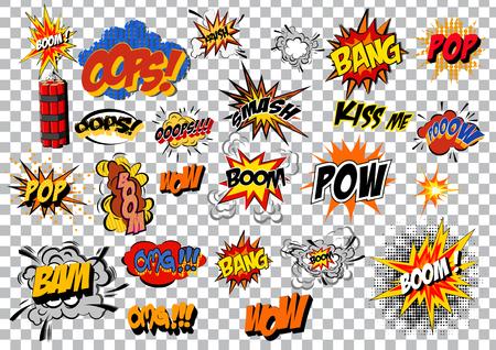 eps vector art: retro cartoon explosion pop art comic set. Vector EPS Illustration
