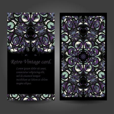 creation of sites: Set retro business card. Vector background. Card or invitation. Vintage decorative elements. Hand drawn. Islam ottoman motifs. Illustration