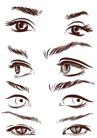 Set of woman eyes, lips, eyebrows and noses as black sketching design elements. Vector illustration